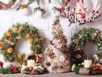 Christmas fair decor. Christmas fair, Large Choice of aromatic natural wreathes royalty free stock photos