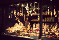 Free Christmas Fair Kiosk With Lovely Handcrafted Wooden Xmas Decorations Stock Images - 61347394