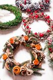 Christmas fair wreathes. Christmas fair, Large Choice of aromatic natural wreathes Royalty Free Stock Images