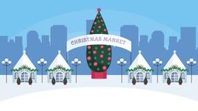 The Christmas fair. Christmas fair in the modern city. Vector background Stock Photo