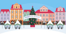Christmas fair in the old city. Christmas fair in the old town.  Vector background Stock Photos
