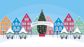 Christmas fair in the old town. Vector background Royalty Free Stock Photos