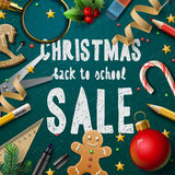 Christmas Fair poster. Promotional background for schools fairs, vector illustration royalty free illustration