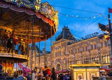 Christmas fair on the Red Square in Moscow, Russia Stock Photos