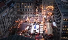 Christmas fair shopping. Christmas at Budapest Basilica, outdoors shopping Stock Image