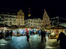 Christmas Fair at Town Hall Square in Tallinn. stock photo