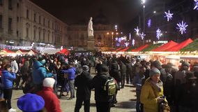 Christmas fair. At University Square in Bucharest, Romania stock footage