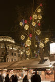 Christmas fair at Vorosmarty square in Budapest Stock Photos