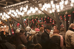 Christmas fair at Vorosmarty square in Budapest royalty free stock photography