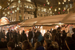 Christmas fair at Vorosmarty square in Budapest. BUDAPEST - DECEMBER 14: Christmas fair at Vorosmarty square on December 14, 2012 in Budapest Royalty Free Stock Images