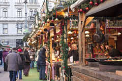 Christmas fair at Vorosmarty square in Budapest stock photography