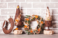 Christmas fair wreathes. Christmas fair, Large Choice of aromatic coffee wreathes and trees Stock Photo