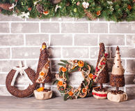 Christmas fair wreathes. Christmas fair, Large Choice of aromatic coffee wreathes and trees Royalty Free Stock Photos
