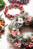 Christmas fair wreathes. Christmas fair, Large Choice of aromatic natural wreathes Royalty Free Stock Photos