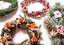 Christmas fair wreathes. Christmas fair, Large Choice of aromatic natural wreathes Stock Photos