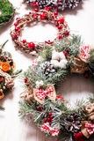 Christmas fair wreathes. Christmas fair, Large Choice of aromatic natural wreathes Stock Photography