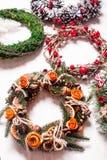 Christmas fair wreathes Stock Photo