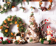 Christmas fair wreathes Stock Images