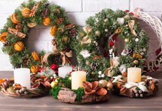 Christmas fair wreathes. Christmas fair, Large Choice of aromatic natural wreathes Stock Images