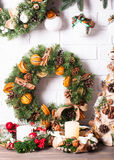 Christmas fair wreathes. Christmas fair, Large Choice of aromatic natural wreathes Stock Photo