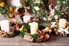 Christmas fair wreathes Royalty Free Stock Image