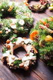 Christmas fair wreathes. Christmas fair, Large Choice of aromatic natural wreathes Royalty Free Stock Image