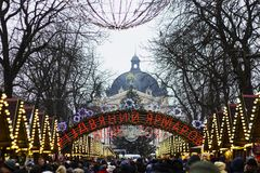 Christmas fairst in Lvov on background of Christmas tree. Christmas fair 2017 in Lvov on background of Christmas tree and Opera House stock images
