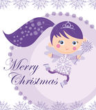 Christmas fairy. Christmas card with little winter fairy Stock Photo