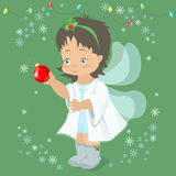 Christmas fairy angel holding a Christmas ball in her hand . Vec Royalty Free Stock Photos