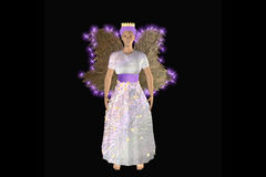 Christmas Fairy. In bright white dress with radiant wings and stars. 3d illustration vector illustration