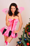 Christmas fairy butterfly girl Stock Image
