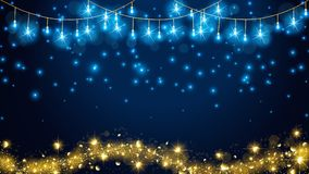 Christmas fairy lights on dark blue background for luxury theme. vector illustration