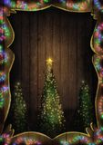 Christmas Fairy Lights on Wood. Christmas tree illuminated. stock images