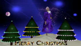 Christmas Fairy. In purple with radiant wings in front of Christmas trees with the text Merry Christmas. Christmas picture as 3d illustration royalty free illustration