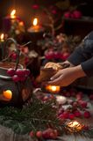 A Christmas fairy tale with candles and berries under the snow. Little girl and christmas decor. royalty free stock images