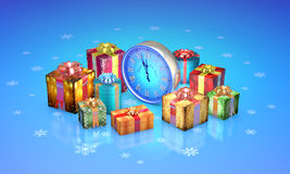 Christmas fairy-tale gifts. Beautiful boxes, clock. New Year. 3D Royalty Free Stock Photography