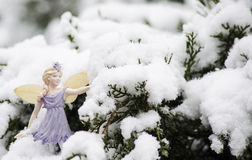 Christmas Fairy. Winter fairy with wings on a snowy tree outside for a  background in real snow Stock Images