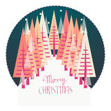 Christmas Fairytale. Illustration of a Christmas Trees and snowflakes Royalty Free Stock Images