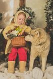 A Christmas fairytale. A little girl, hugging a dog of northern breed. An artificial interior of the winter forest Royalty Free Stock Photo