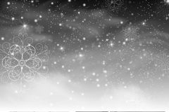 Christmas falling snow vector isolated on dark background. Snowflake transparent decoration effect. Magic white snowfall texture. Winter snowstorm backdrop royalty free illustration