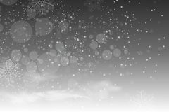 Christmas falling snow vector isolated on dark background. Snowflake transparent decoration effect. Magic white snowfall texture. Winter snowstorm backdrop vector illustration
