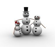 Christmas family. Snowmen Stock Photography