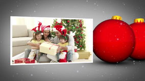 Christmas family animation stock video footage