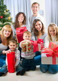 Christmas Family.Celebrate. Happy Big family with Christmas presents.Home. Christmas tree Royalty Free Stock Photos