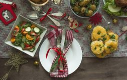 Christmas Family Dining Table. Festive Table. Table Setting. Presents . New Year. View From Above Royalty Free Stock Image