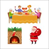 Christmas family dinner, chimney and Santa Claus. Christmas elements - family dinner, decorated chimney and Santa Clause with present bag, cartoon vector Royalty Free Stock Photography