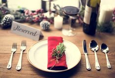 Christmas Family Dinner Table Concept Royalty Free Stock Photos