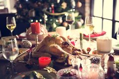 Christmas Family Dinner Table Concept.  stock photo