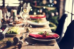 Christmas Family Dinner Table Concept Stock Photos