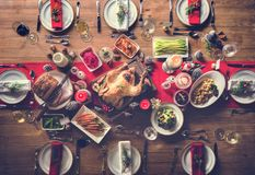 Christmas Family Dinner Table Concept stock images